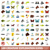 100 creature exploration icons set, flat style Stock Photos
