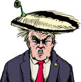 Creature hiding in Donald Trump hairdo. April 18, 2017. Furious Donald Trump with bizarre one eyed creature hiding in his hair Stock Photo