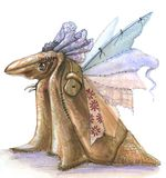 Creature rag doll. Rag and leather doll like a strange bird. has thin membranous wings royalty free illustration