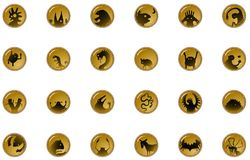 Creature Shadow Button Icons. Creature fantasy Halloween cartoon small button symbol set, vector illustration, horizontal, isolated, over white Stock Images