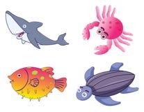 Creature sveglie Assorted del mare nel vettore Fotografia Stock