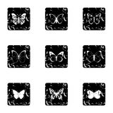 Creatures butterflies icons set, grunge style Royalty Free Stock Photos