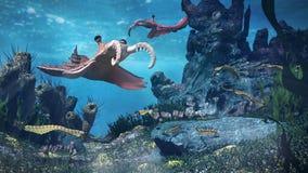 Creatures of the Cambrian period, underwater scene with Anomalocaris, Opabinia, Hallucigenia, Pirania and Dinomischus 3d science