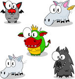 Creatures of fantasy. Some cartoon creatures of fantasy (vampire, pegasus, dragon, unicorn, werewolf Royalty Free Stock Photography