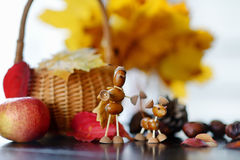 Creatures made from chestnuts and acorns, Royalty Free Stock Photos