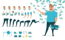 Creazione del carattere dell'uomo d'affari messa per l'animazione Parte il modello del corpo Emozioni, pose e funzionamento diffe royalty illustrazione gratis