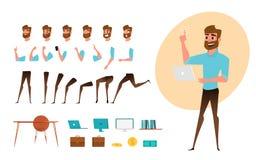 Creazione del carattere dell'uomo d'affari messa per l'animazione Parte il modello del corpo Emozioni, pose e funzionamento diffe illustrazione vettoriale