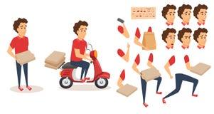 Creazione del carattere di servizio di distribuzione dell'alimento illustrazione di stock