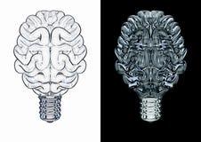Cérebro de vidro da ampola Imagens de Stock