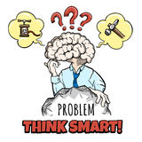 Cérebro humano no processo de pensamento Foto de Stock Royalty Free