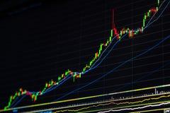 Crecer el gráfico del mercado de acción Mercado alcista Imagenes de archivo