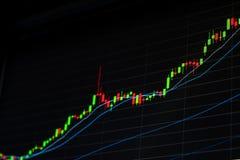 Crecer el gráfico del mercado de acción Mercado alcista Foto de archivo libre de regalías