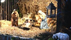 Creche рождества с Иосиф Mary и Иисусом акции видеоматериалы