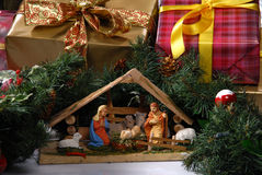 Creche for Christmas. Creche at Christmas over white royalty free stock photography
