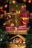 Creche for Christmas. Creche at Christmas over white stock photo