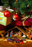 Creche for Christmas. Creche at Christmas over white royalty free stock image