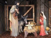 Creche,Christmas time. Christmas creche picturemade of wooden figures stock photos