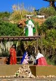 Creche at Gran Canaria. Public creche with, Mary, Josef, a king, an angel, some animals stock photos