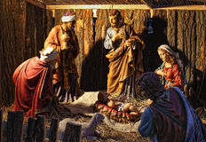 Creche scene. In shelter with statues royalty free stock photo