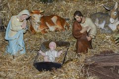 Christmas creche with Jesus Joseph and Mary. Creche with small Jesus Joseph and Mary stock image