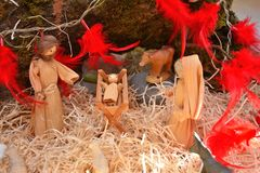 Creche with small Jesus. Mise en scene about Christmas creche with small Jesus stock photo