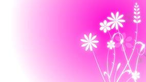 Crecimiento animado floral en fondo púrpura stock de ilustración