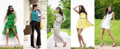 Crecimiento completo, mujeres jovenes hermosas en vestido sexy fotos de archivo