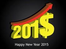 Crecimiento de dinero de 2015 Feliz Año Nuevo 2015 Fotografía de archivo libre de regalías