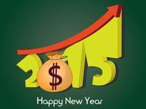 Crecimiento de dinero de 2015 Feliz Año Nuevo 2015 Fotos de archivo libres de regalías
