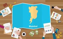 Crecimiento de la economía de la región de la ciudad de Bombay Bombay la India con el equipo discutir en la opinión de los mapas  libre illustration