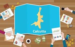 Crecimiento de la economía de la región de la ciudad de Calcutta la India Bengala con el equipo discutir en la opinión de los map ilustración del vector