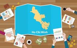 Crecimiento de la economía de la región de la ciudad de Ho Chi Minh Vietnam con el equipo discutir en la opinión de los mapas del stock de ilustración