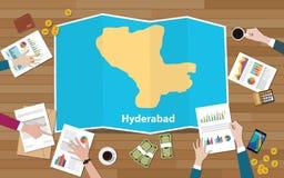 Crecimiento de la economía de la región del capital de Hyderabad la India con el equipo discutir en la opinión de los mapas del d stock de ilustración