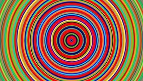 Crecimiento de los círculos concéntricos del color del arco iris Animación lisa 3D del lazo inconsútil abstraiga el fondo almacen de video