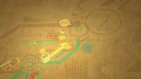 Crecimiento de los gráficos de negocio en el papel viejo 4K libre illustration