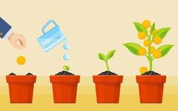 Crecimiento del árbol del dinero Concepto económico del vector de la inversión del negocio stock de ilustración