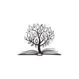 Crecimiento del árbol del vector de un libro stock de ilustración