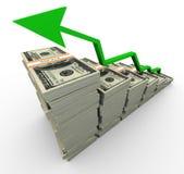 crecimiento del dólar 3d ilustración del vector