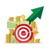 Crecimiento del efectivo Flecha verde Dólares y monedas ilustración del vector