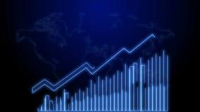 crecimiento del negocio 4k y animación de Infographics de la flecha del éxito de un neón azul del infographics del negocio stock de ilustración