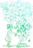 Crecimiento espectacular, doodles incompletos Fotografía de archivo