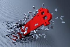 Crecimiento explosivo del bitcoin, concepto 3d Fotos de archivo libres de regalías