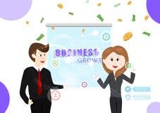 Crecimiento, hombre y mujer del negocio trabajando junto, información de la tecnología, inversión, vector acertado descendente de stock de ilustración