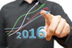 Crecimiento y tendencia positiva en el año 2016 Fotografía de archivo libre de regalías