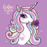 Credi nella magia Un bello unicorno illustrazione di stock