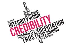 Credibility word cloud collage, business concept background. credibility, reputation and trust concept stock illustration