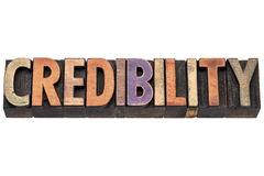 Credibility word in wood type Stock Images