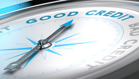 Credit Advice. Compass with needle pointing the word good credit, blue and grey tones. Background image for illustration of credit advice Royalty Free Stock Photos