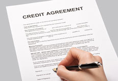 Credit agreement Stock Photo