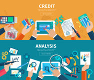 Credit Analysis Banner Set. Credit and analysis horizontal banner set with hands holding business objects isolated vector illustration Royalty Free Stock Photo